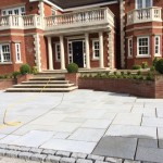 Beautiful stone patio in front of house