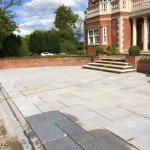 Wet paving cleaning patio